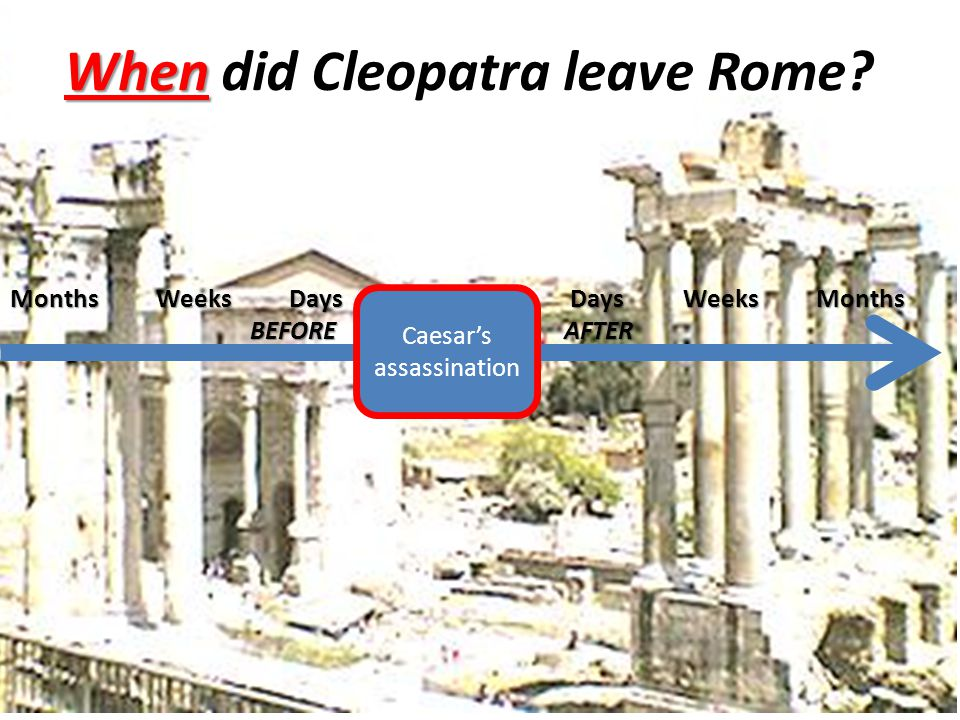 When When did Cleopatra leave Rome? Caesar's assassination Months Weeks Days Days Weeks Months BEFORE AFTER BEFORE AFTER