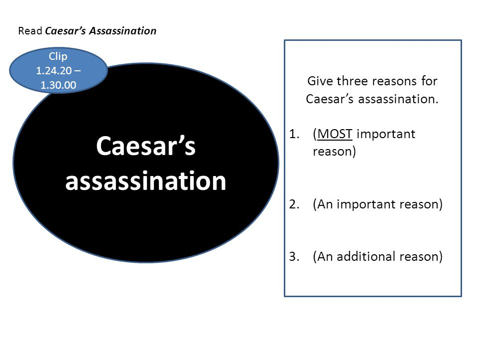 Caesar's assassination Give three reasons for Caesar's assassination. 1.(MOST important reason) 2.(An important reason) 3.(An additional reason) Clip