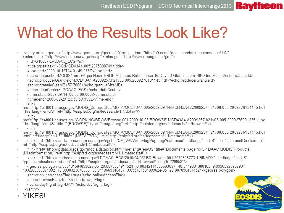 link is your friend! Raytheon EED Program | ECHO Technical Interchange 2013