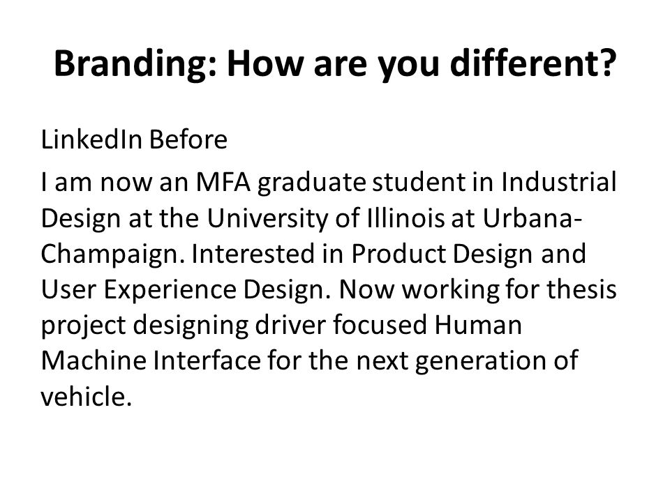Branding: How are you different.