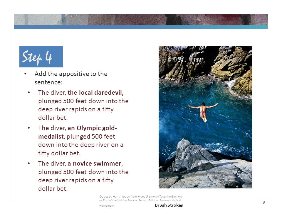 Step 4 Add the appositive to the sentence: The diver, the local daredevil, plunged 500 feet down into the deep river rapids on a fifty dollar bet.