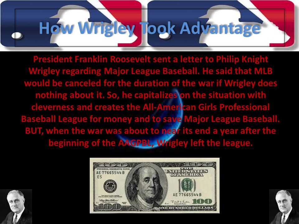 How Wrigley Took Advantage President Franklin Roosevelt sent a letter to Philip Knight Wrigley regarding Major League Baseball.
