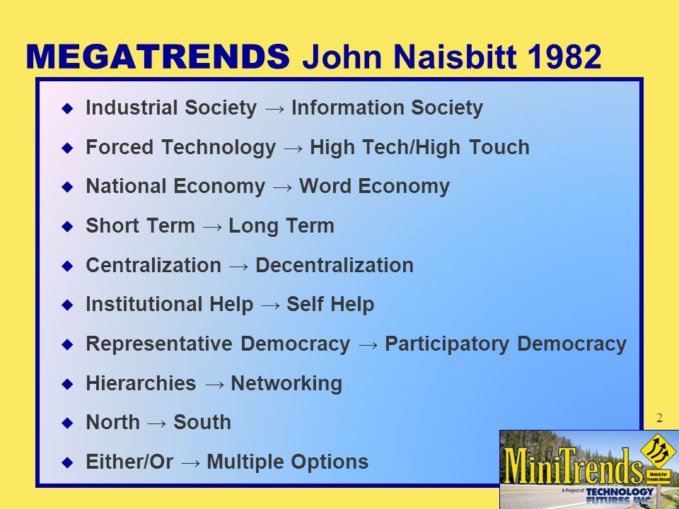 MEGATRENDS John Naisbitt 1982  Industrial Society → Information Society  Forced Technology → High Tech/High Touch  National Economy → Word Economy  Short Term → Long Term  Centralization → Decentralization  Institutional Help → Self Help  Representative Democracy → Participatory Democracy  Hierarchies → Networking  North → South  Either/Or → Multiple Options 2