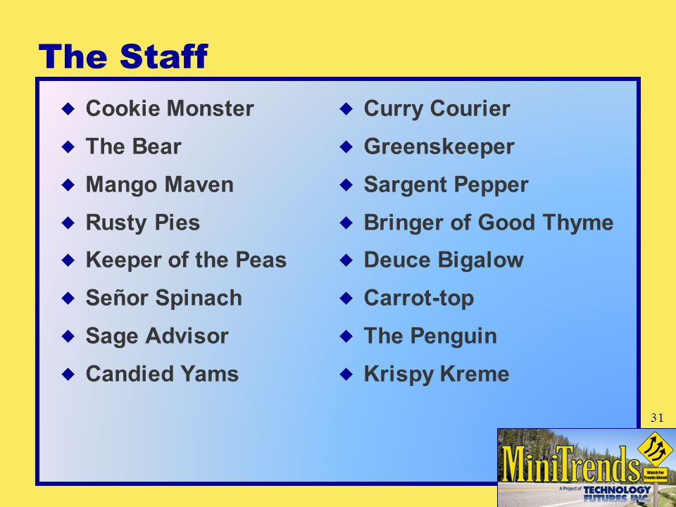 The Staff  Cookie Monster  The Bear  Mango Maven  Rusty Pies  Keeper of the Peas  Señor Spinach  Sage Advisor  Candied Yams  Curry Courier  Greenskeeper  Sargent Pepper  Bringer of Good Thyme  Deuce Bigalow  Carrot-top  The Penguin  Krispy Kreme 31