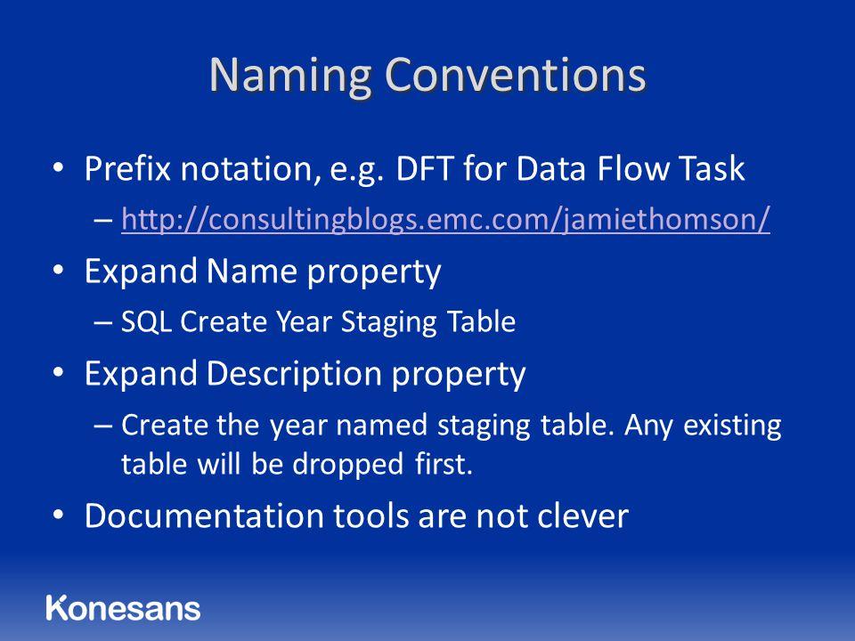 Naming Conventions Prefix notation, e.g.
