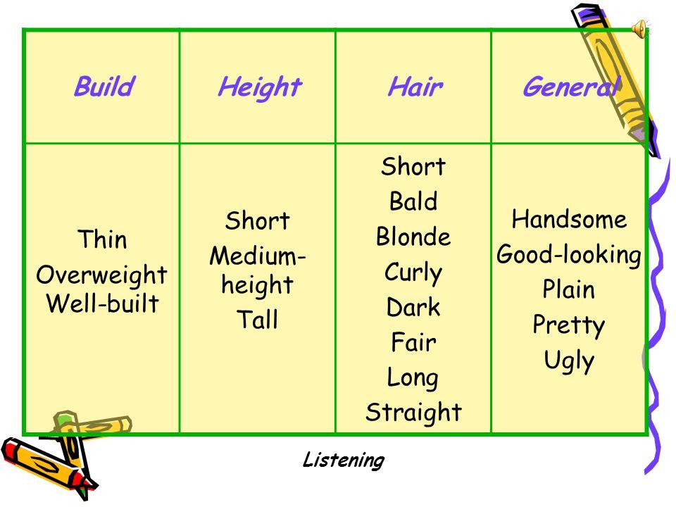 BuildHeightHairGeneral Thin Overweight Well-built Short Medium- height Tall Short Bald Blonde Curly Dark Fair Long Straight Handsome Good-looking Plain Pretty Ugly Listening