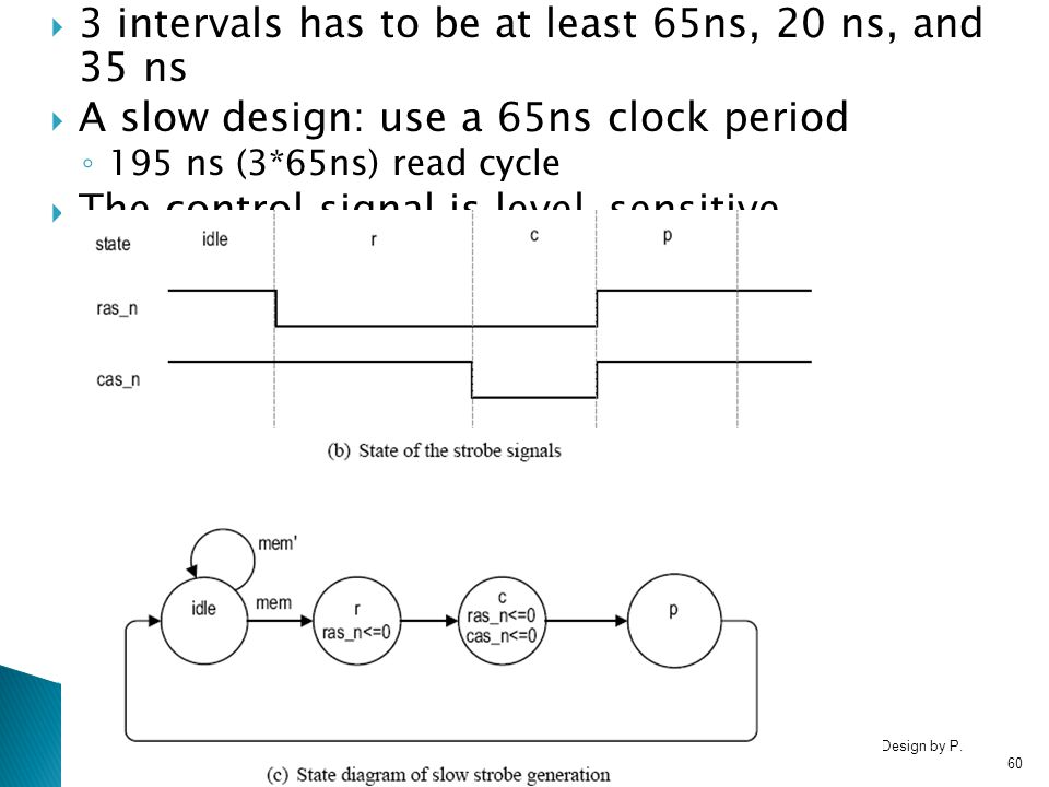 RTL Hardware Design by P. Chu Chapter 1060  3 intervals has to be at least 65ns, 20 ns, and 35 ns  A slow design: use a 65ns clock period ◦ 195 ns (
