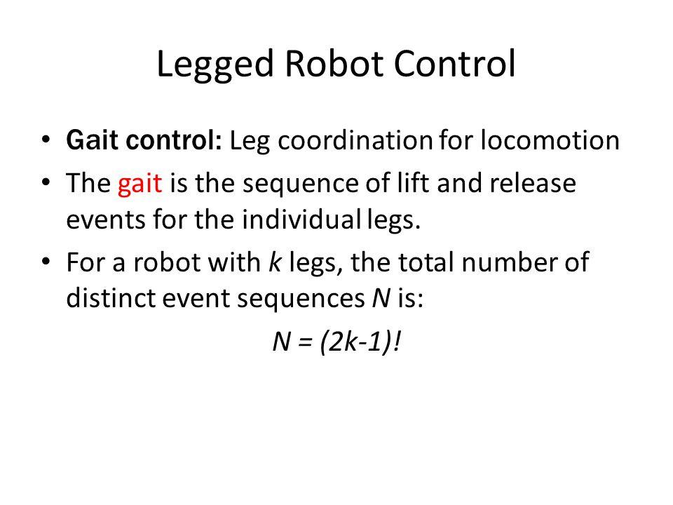 Legged Robot Control 2 legs: N = 6 – DD, UD, DD – DD, DU, DD – DD, UU, DD – UD, DU, UD, DU – UD, UU, UD – DU, UU, DU 6 legs: N = 11.