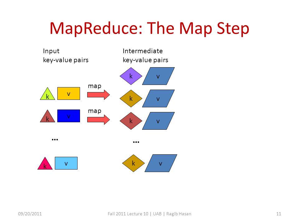 MapReduce: The Map Step v k kv kv map v k v k … kv Input key-value pairs Intermediate key-value pairs … kv 09/20/2011Fall 2011 Lecture 10 | UAB | Ragib Hasan11