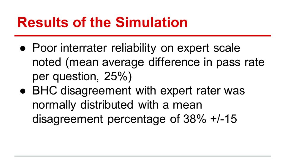 Results of the Simulation ●Poor interrater reliability on expert scale noted (mean average difference in pass rate per question, 25%) ●BHC disagreement with expert rater was normally distributed with a mean disagreement percentage of 38% +/-15