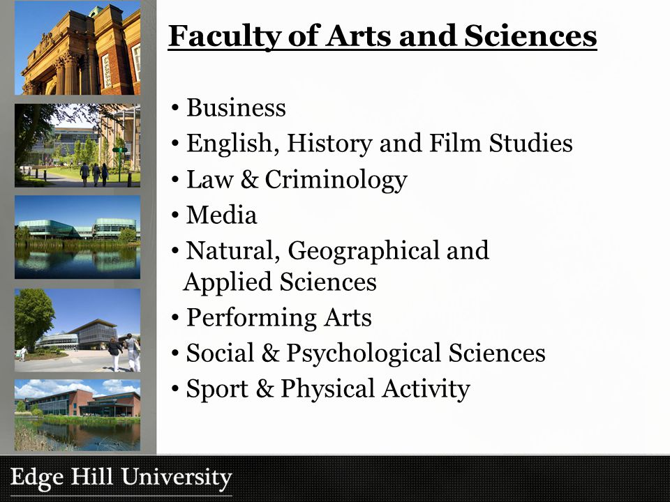 Faculty of Arts and Sciences Business English, History and Film Studies Law & Criminology Media Natural, Geographical and Applied Sciences Performing Arts Social & Psychological Sciences Sport & Physical Activity