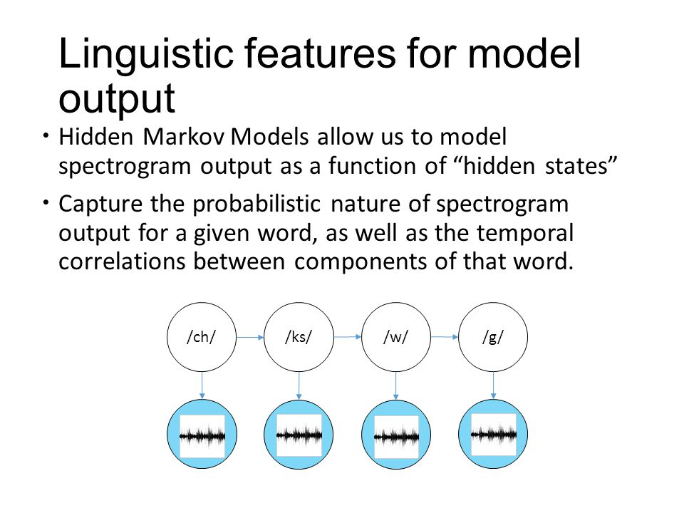 Linguistic features for model output  Hidden Markov Models allow us to model spectrogram output as a function of hidden states  Capture the probabilistic nature of spectrogram output for a given word, as well as the temporal correlations between components of that word.
