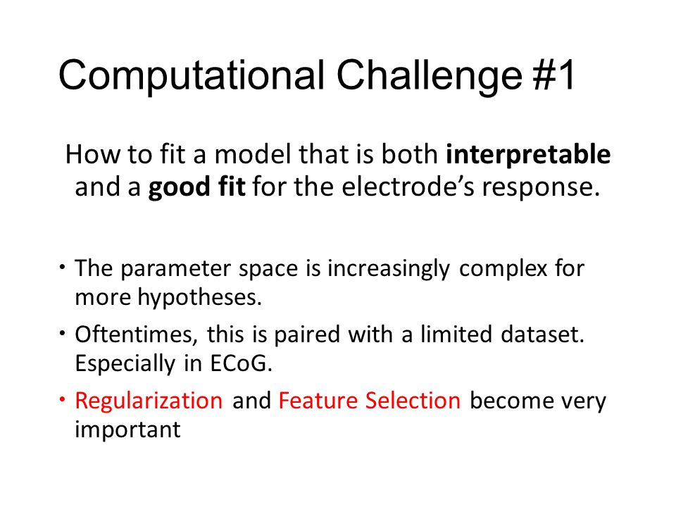 Computational Challenge #1 How to fit a model that is both interpretable and a good fit for the electrode's response.