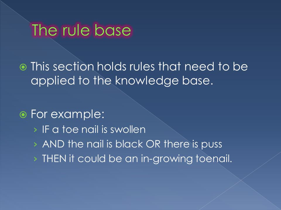  This section holds rules that need to be applied to the knowledge base.