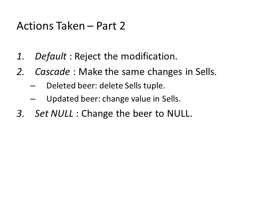 Actions Taken – Part 2 1.Default : Reject the modification.