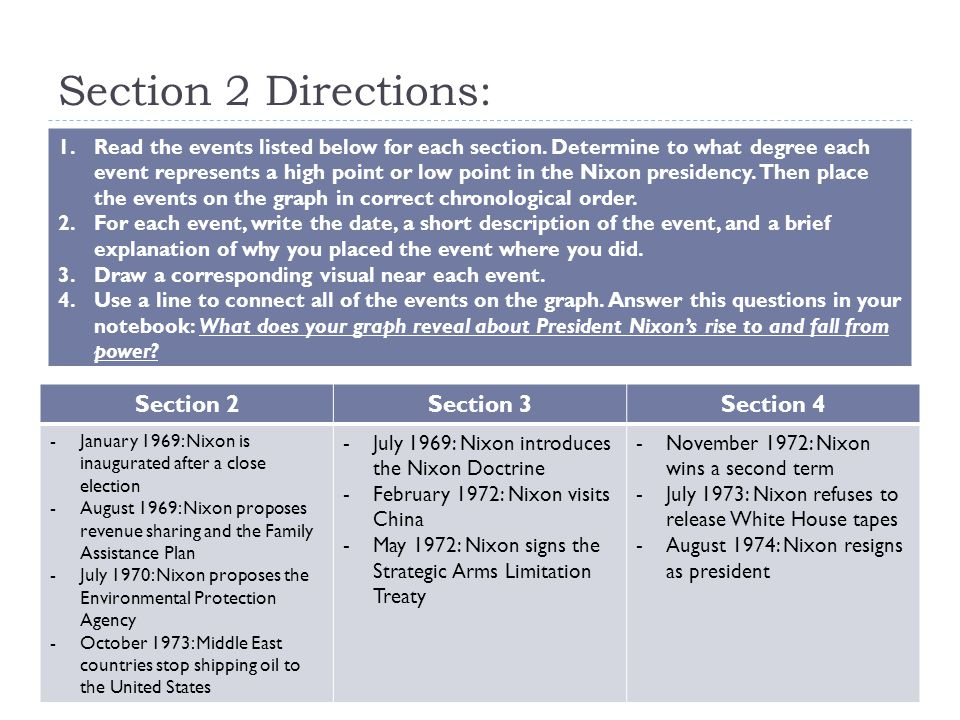 Section 2 Directions: 1.Read the events listed below for each section.
