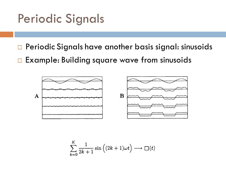 Periodic Signals  Periodic Signals have another basis signal: sinusoids  Example: Building square wave from sinusoids