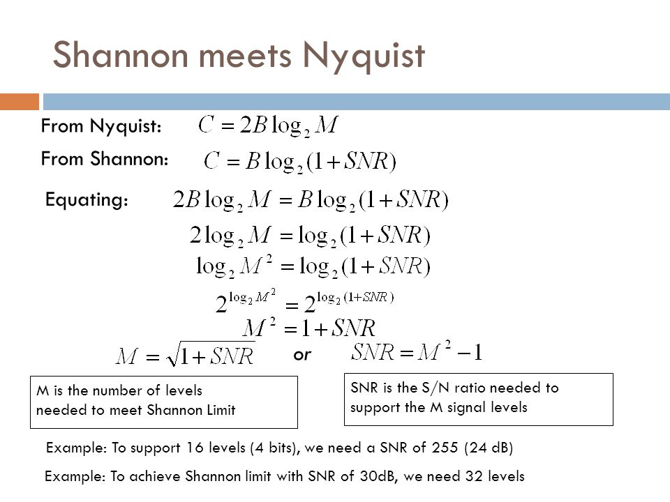Shannon meets Nyquist From Nyquist: From Shannon: Equating: or M is the number of levels needed to meet Shannon Limit SNR is the S/N ratio needed to support the M signal levels Example: To support 16 levels (4 bits), we need a SNR of 255 (24 dB) Example: To achieve Shannon limit with SNR of 30dB, we need 32 levels