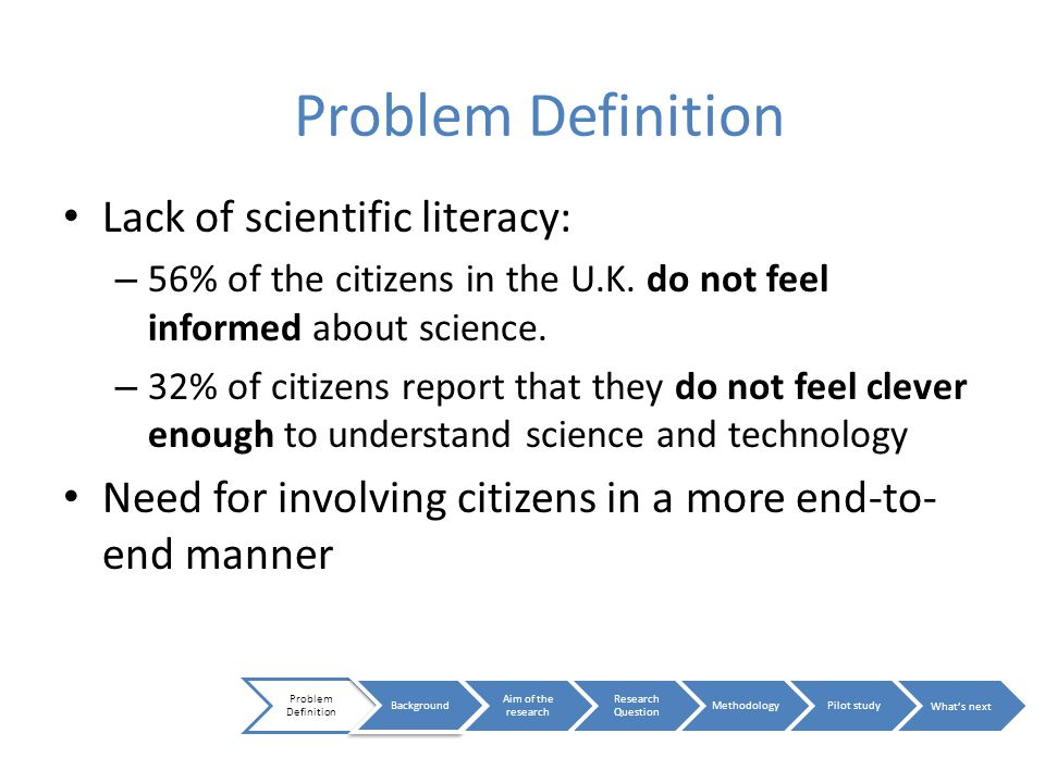 Lack of scientific literacy: – 56% of the citizens in the U.K.