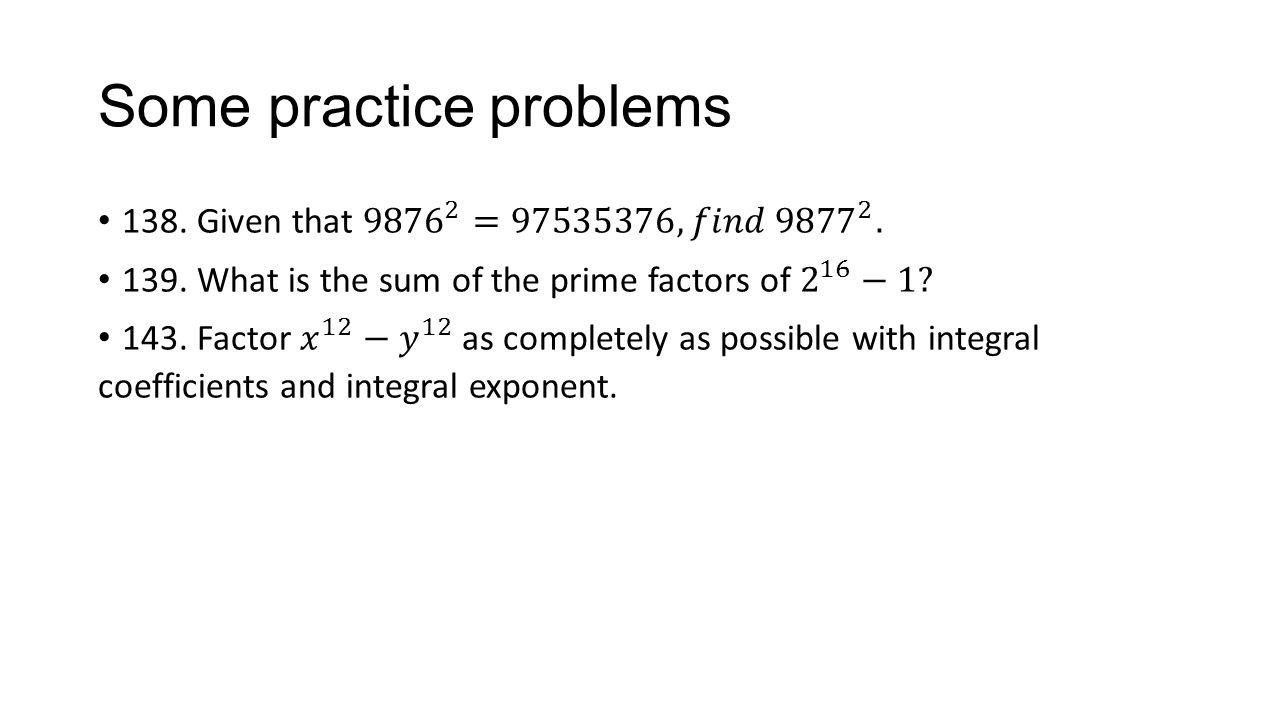 Some practice problems