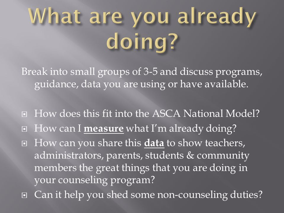 Break into small groups of 3-5 and discuss programs, guidance, data you are using or have available.