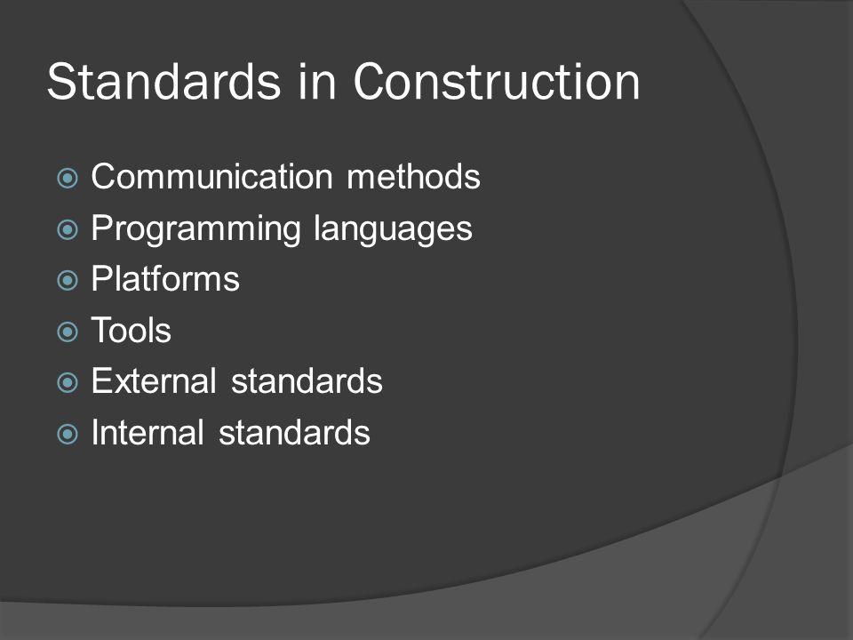 Standards in Construction  Communication methods  Programming languages  Platforms  Tools  External standards  Internal standards