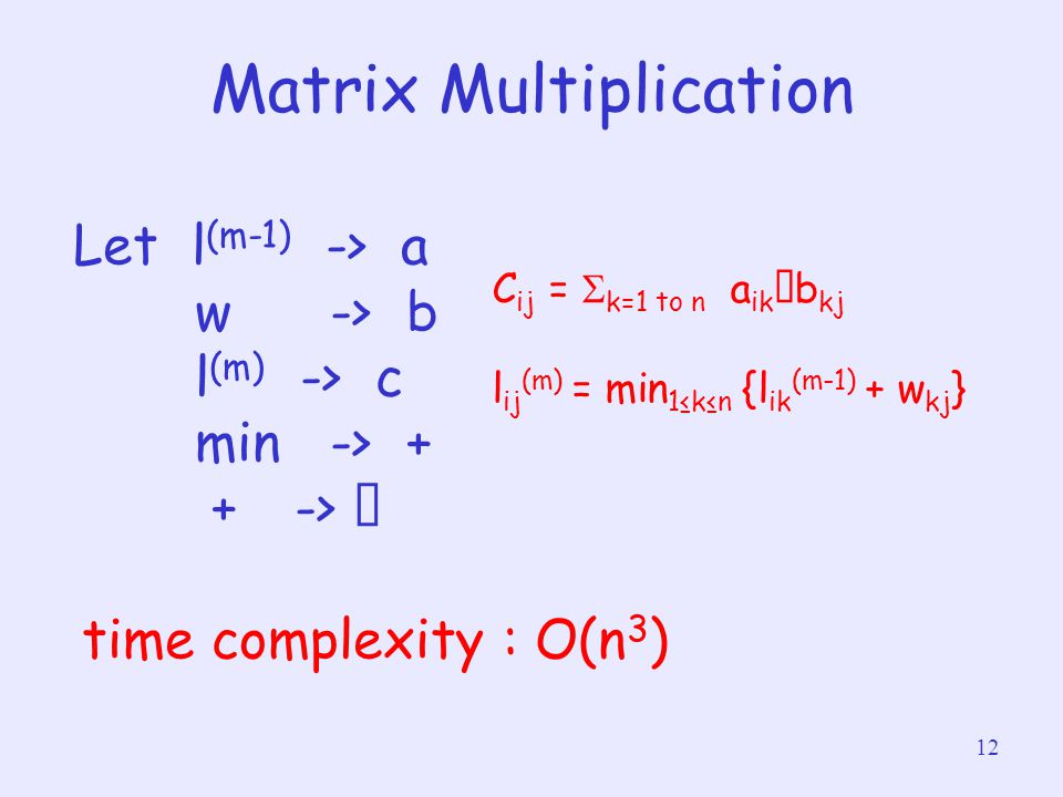 12 Matrix Multiplication Let l (m-1) -> a w -> b l (m) -> c min -> + + -> ‧ time complexity : O(n 3 ) C ij =  k=1 to n a ik ‧ b kj l ij (m) = min 1≤k