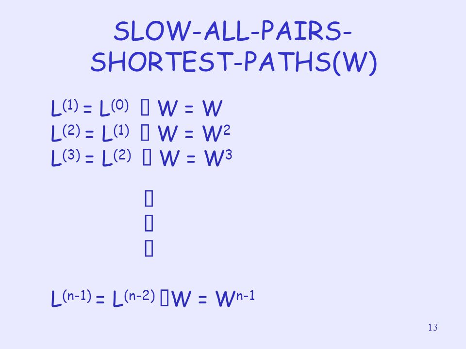 13 SLOW-ALL-PAIRS- SHORTEST-PATHS(W) L (1) = L (0) ‧ W = W L (2) = L (1) ‧ W = W 2 L (3) = L (2) ‧ W = W 3 ‧ L (n-1) = L (n-2) ‧ W = W n-1