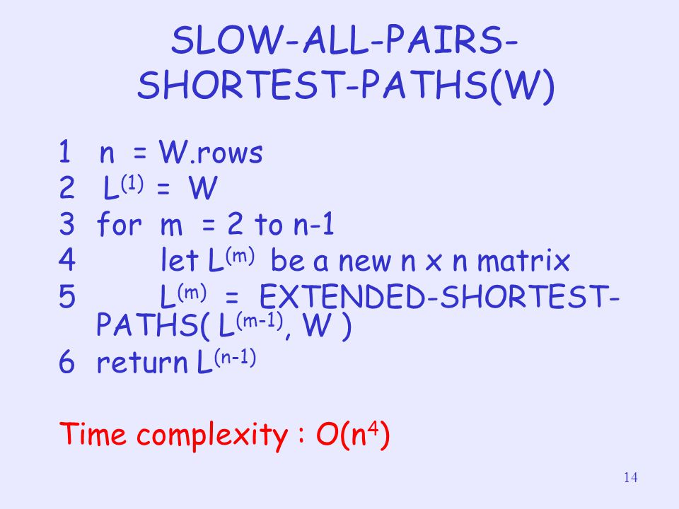 14 SLOW-ALL-PAIRS- SHORTEST-PATHS(W) 1 n = W.rows 2 L (1) = W 3for m = 2 to n-1 4 let L (m) be a new n x n matrix 5 L (m) = EXTENDED-SHORTEST- PATHS(