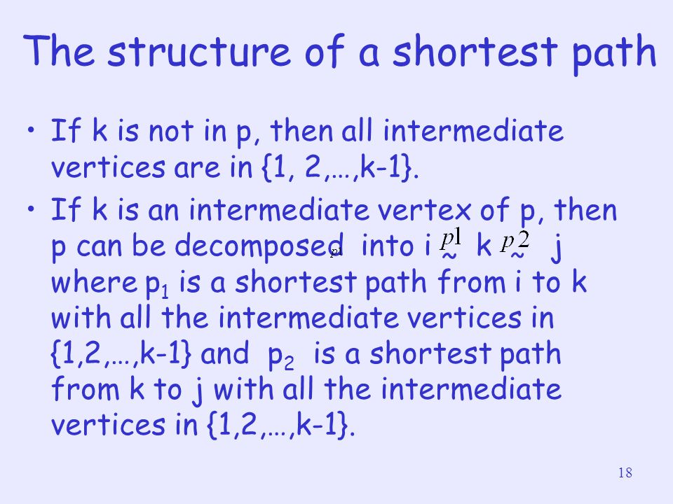 18 The structure of a shortest path If k is not in p, then all intermediate vertices are in {1, 2,…,k-1}. If k is an intermediate vertex of p, then p