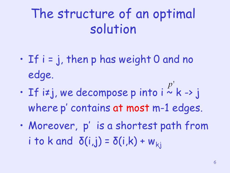 6 The structure of an optimal solution If i = j, then p has weight 0 and no edge. If i≠j, we decompose p into i ~ k -> j where p' contains at most m-1