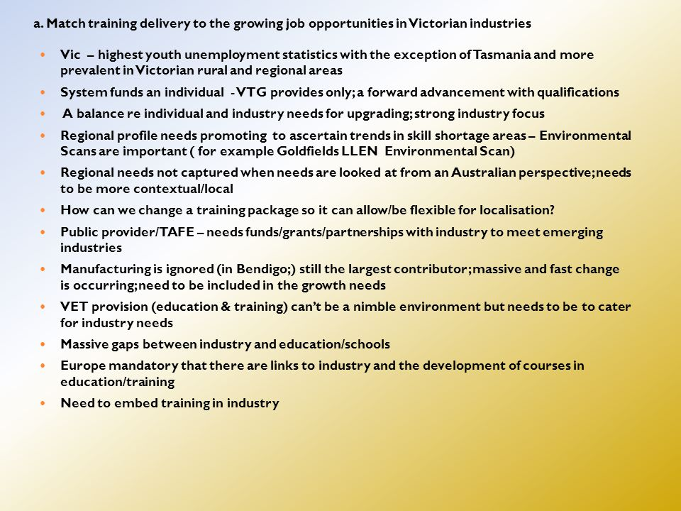 a. Match training delivery to the growing job opportunities in Victorian industries Vic – highest youth unemployment statistics with the exception of