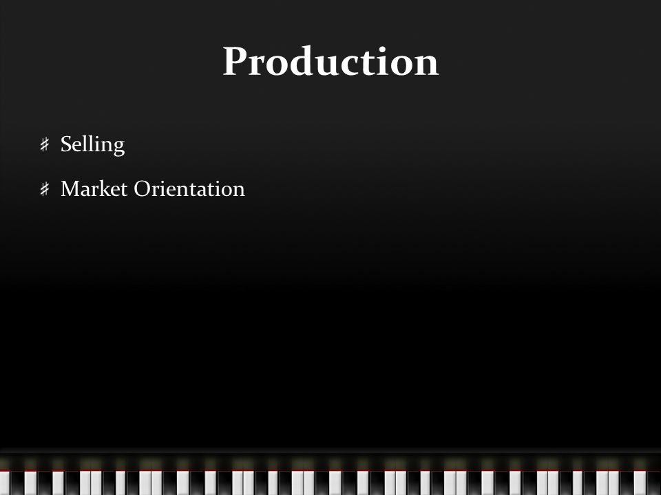 Production Selling Market Orientation