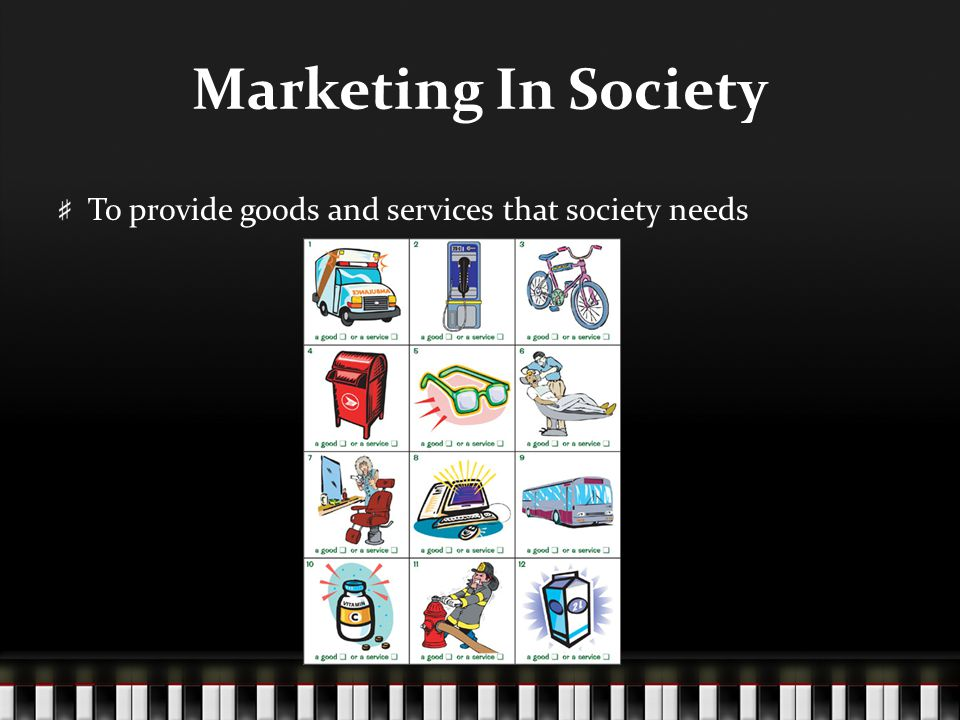 Marketing In Society To provide goods and services that society needs