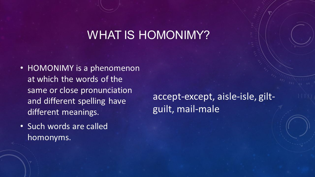 WHAT IS HOMONIMY.