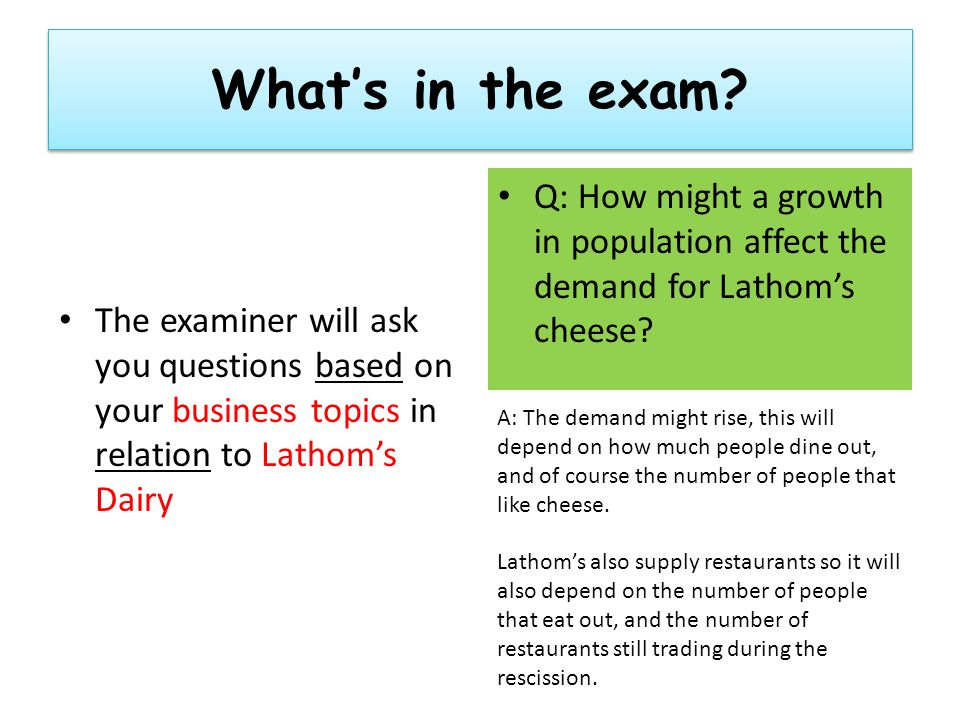 What's in the exam.
