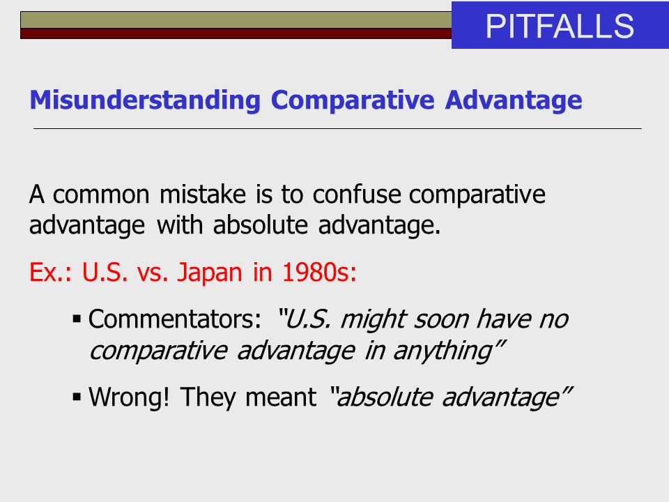 Misunderstanding Comparative Advantage A common mistake is to confuse comparative advantage with absolute advantage. Ex.: U.S. vs. Japan in 1980s:  C
