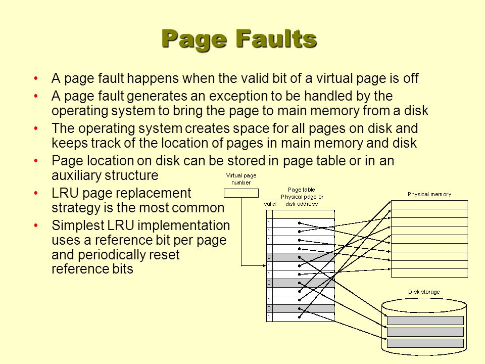 Page Faults A page fault happens when the valid bit of a virtual page is off A page fault generates an exception to be handled by the operating system to bring the page to main memory from a disk The operating system creates space for all pages on disk and keeps track of the location of pages in main memory and disk Page location on disk can be stored in page table or in an auxiliary structure LRU page replacement strategy is the most common Simplest LRU implementation uses a reference bit per page and periodically reset reference bits