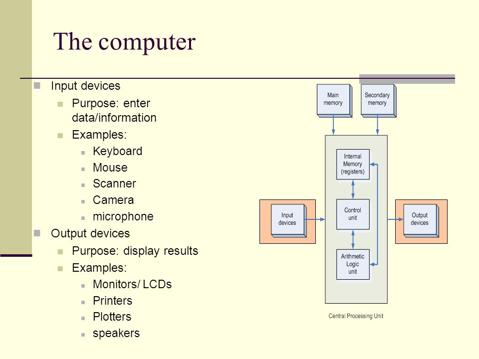 The computer Input devices Purpose: enter data/information Examples: Keyboard Mouse Scanner Camera microphone Output devices Purpose: display results Examples: Monitors/ LCDs Printers Plotters speakers