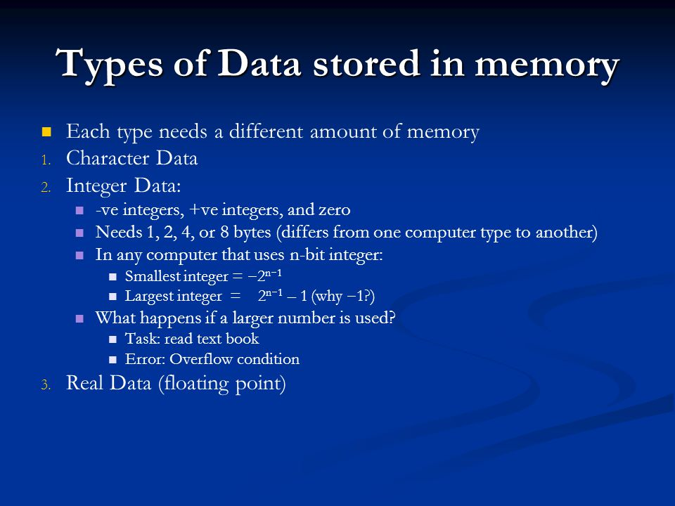 Types of Data stored in memory Each type needs a different amount of memory 1. 1. Character Data 2. 2. Integer Data: -ve integers, +ve integers, and z