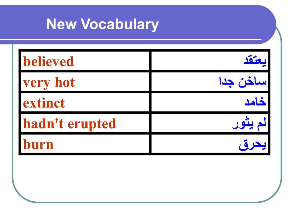 يعتقدbelieved ساخن جداvery hot خامدextinct لم يثورhadn t erupted يحرقburn New Vocabulary