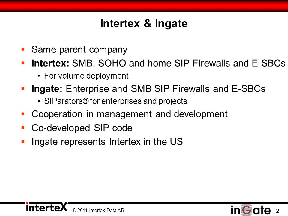 © 2011 Intertex Data AB 23 …but can be an Enabler for SIP Services and Users Everywhere.