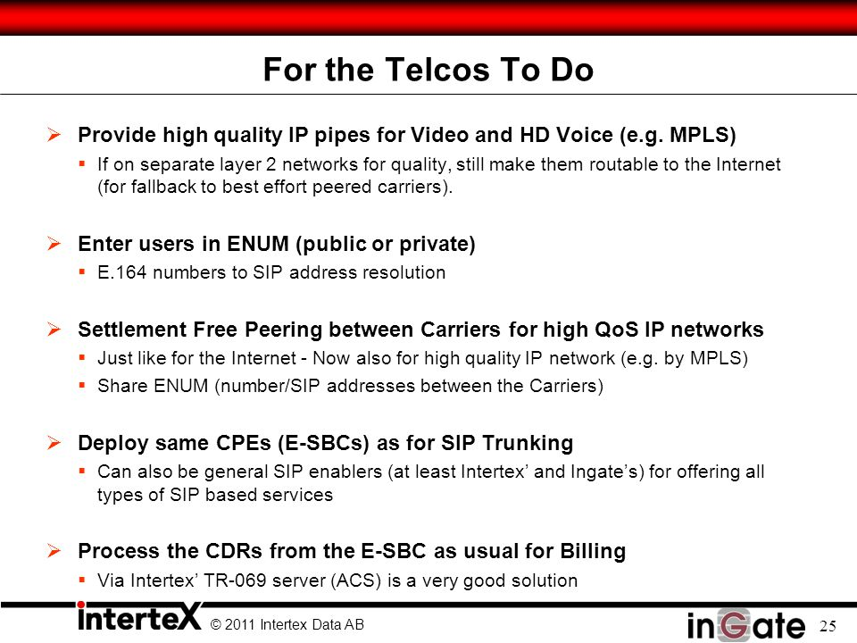 © 2011 Intertex Data AB 25 For the Telcos To Do  Provide high quality IP pipes for Video and HD Voice (e.g.