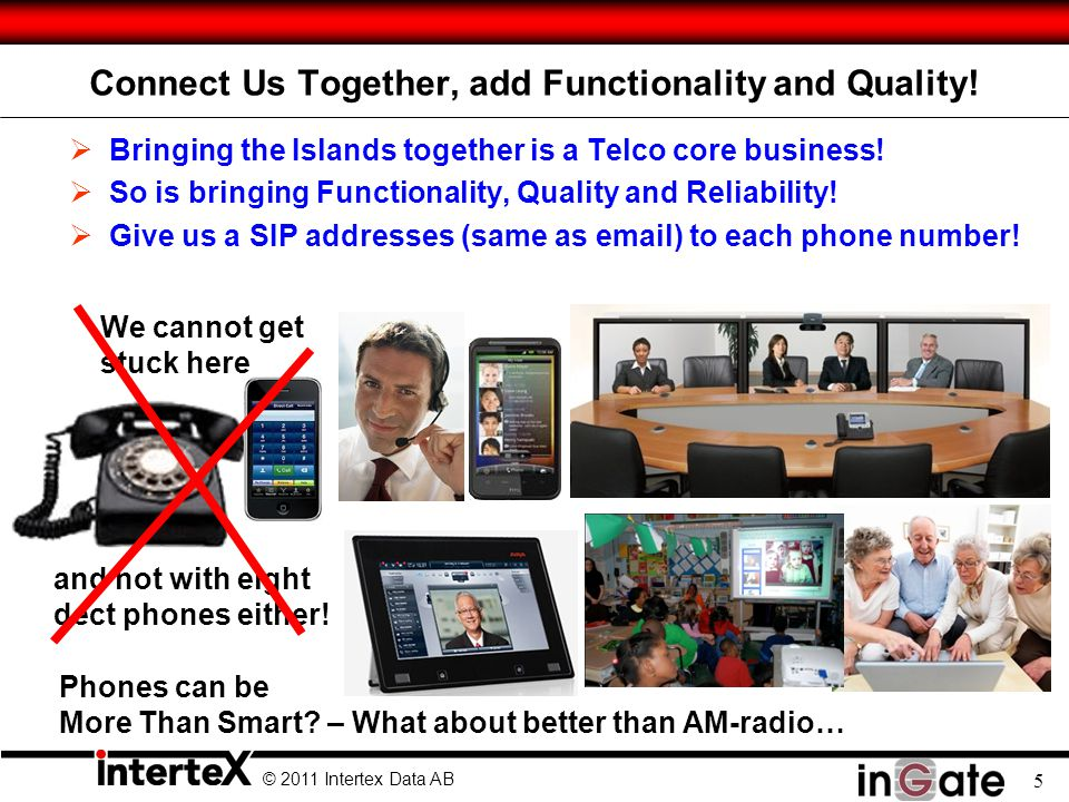 © 2011 Intertex Data AB 5 Connect Us Together, add Functionality and Quality.