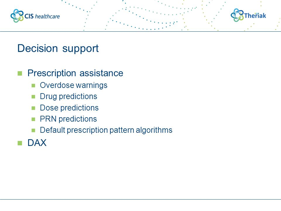 Decision support Prescription assistance Overdose warnings Drug predictions Dose predictions PRN predictions Default prescription pattern algorithms DAX