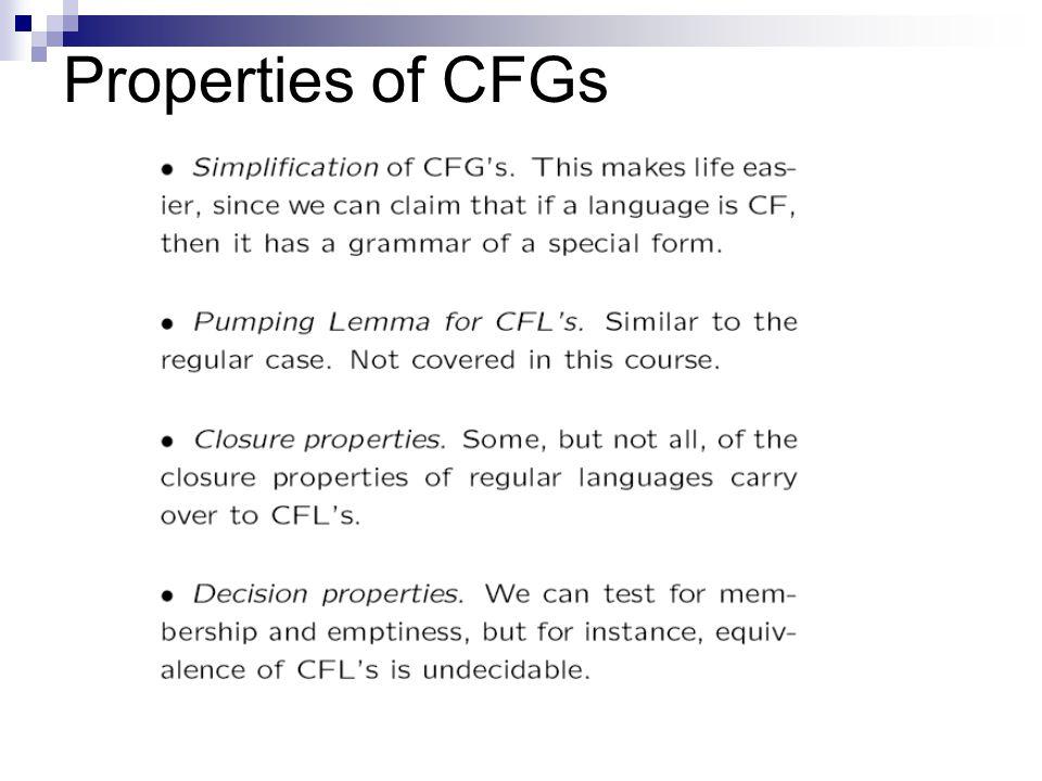Properties of CFGs