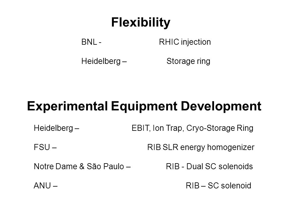 BNL - RHIC injection Heidelberg – Storage ring Experimental Equipment Development Heidelberg – EBIT, Ion Trap, Cryo-Storage Ring FSU – RIB SLR energy