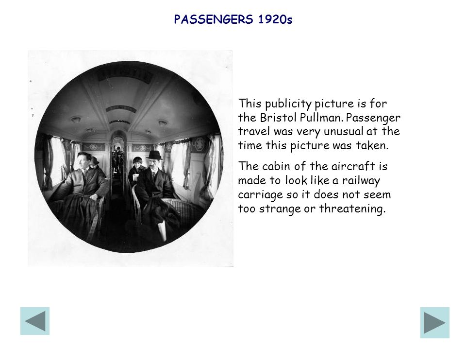 PASSENGERS 1920s This publicity picture is for the Bristol Pullman.