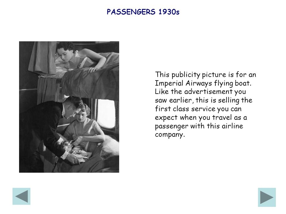 PASSENGERS 1930s This publicity picture is for an Imperial Airways flying boat.