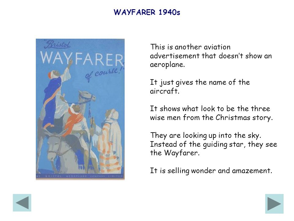 WAYFARER 1940s This is another aviation advertisement that doesn't show an aeroplane.